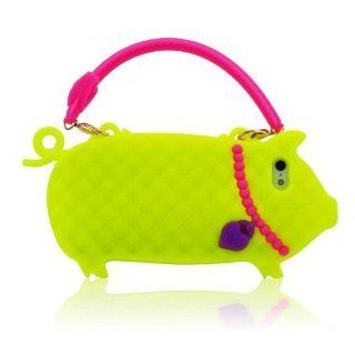 I Need 3D Super Adorable Fluorescent Yellow Pig Design Hot Pink Hand Strap Handbag Soft Silicone Case Cover Compatiable for Apple Iphone 5 red Cell Phones & Accessories