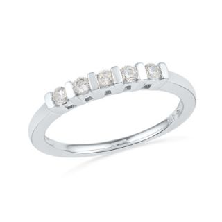 CT. T.W. Diamond Five Stone Wedding Band in 10K White Gold   Zales