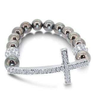 Swarovski Inspired Shamballa Bracelet with CZ Paved Sideways Cross with Grey Color Beads Jewelry