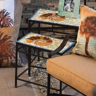 Outdoor Seashell Mosaic Glass and Metal Nested Table Set   End Tables