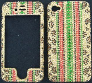 FULL DIAMOND CRYSTAL STONES COVER CASE FOR APPLE IPHONE 4 4S CHEETAH STRIPES Cell Phones & Accessories