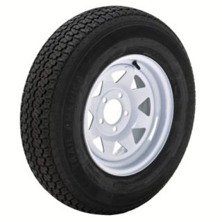 Trail America 5.30 x 12 Bias Trailer Tire 4 Lug Spoke White Rim 98297
