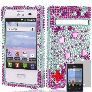 LG OPTIMUS LOGIC L35G HOT PINK SILVER BEAT RHINESTONE DIAMOND BLING COVER SNAP ON HARD by [ACCESORY ARENA] Cell Phones & Accessories