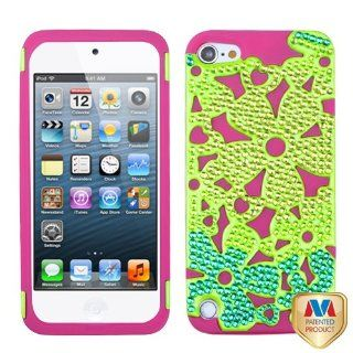 MYBAT Solid Pearl Green/Hot Pink Flowerpower Hybrid Phone Protector Cover with Diamonds for APPLE iPod touch (5th generation) Cell Phones & Accessories
