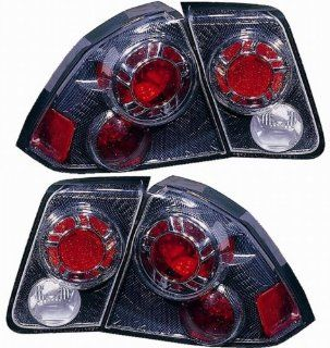 Honda Civic Sedan Replacement Tail Light Assembly (Inner and Outer, Carbon Fiber)   1 Pair Automotive