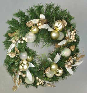 "18"" Gold Glamor Pre Decorated Artificial Glitter Christmas Wreath   Unlit   Christmas Wreath Lights"