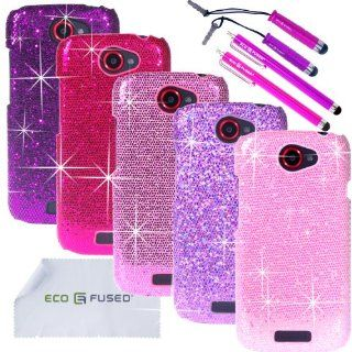 ECO FUSED 12 pieces Bling Glitter Sparkle Hard Cover Case Bundle for HTC One S (T Mobile) / 5 Sparkle Hard Cover Cases (Dark Purple/Purple/Hot Pink/Pink/Light Pink) / 4 Stylus (Hot Pink/Purple) / 2 Screen Protectors   ECO FUSED Microfiber Cleaning Cloth C