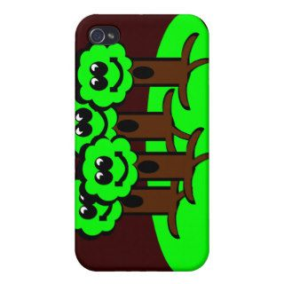 Happy Neon Green Cartoon Trees Smiling Cute Fun iPhone 4 Cases