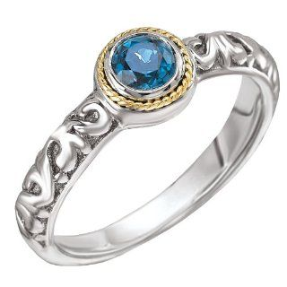Enchanta Collection Sterling Silver & 18K Petite Blue Topaz Ring, Size 6 Jewelry