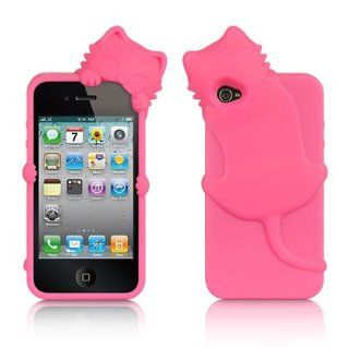 Apple iPhone 4 & 4S Protector Case COMPATIBLE HIGH END SKIN CASE   HOT PINK in CAT SHAPE for AT&T, Verizon & Sprint Cell Phones & Accessories