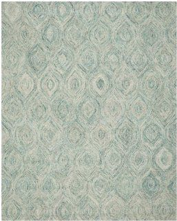 Safavieh IKT631A Ikat Collection Wool Area Rug, 8 Feet by 10 Feet, Ivory and Sea Blue   Handmade Rugs