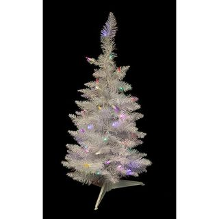 2.5 Pre Lit LED White Sparkle Spruce Pencil Artificial Christmas Tree   Multi Christmas Decor