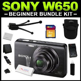 Sony Cyber shot DSC W650 16.1 MP Digital Camera with 5x Optical Zoom and 3.0 Inch LCD (Black) Beginner Bundle Package includes (Charger, Battery, 8GB SD Card, Tripod, Camera Case, Card Reader, Card Wallet & Cleaning Kit)  Flash Memory Camcorders  Cam