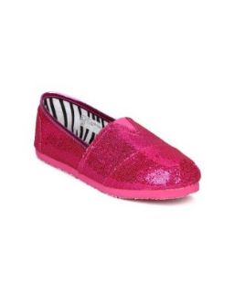 Little Angel Venus 651 Glitter Slip On Designer Flats (Toddler/Little Girl/Big Girl)   Fuchsia Glitter (Size Big Kid 3) Shoes