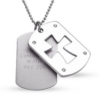 Engraved Mens Stainless Steel Cross Cutout Dog Tag Pendant   Zales