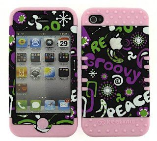For Apple Iphone 4 4s Retro Groovy Peace Heavy Duty Case + Light Pink Rubber Skin Accessories Cell Phones & Accessories