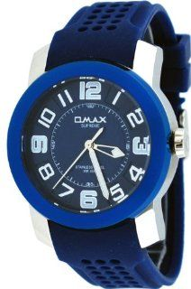 Omax Supreme #TS670 Men's Stainless Steel Blue Dial Silicone Band Casual Sports Watch Watches