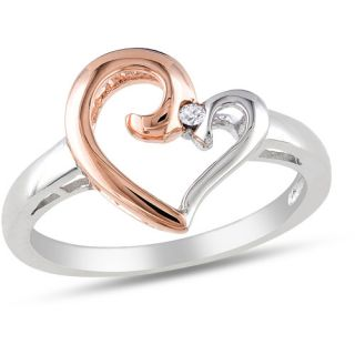 Miabella Diamond Accent Two Tone Sterling Silver Heart Ring Rings