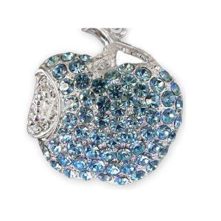 8GB Fashion Crystals Jewelry USB 2.0 Flash Memory Pen Drive Apple Blue Pendant for Necklace Computers & Accessories