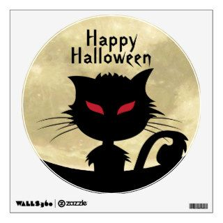 Full Moon And Black Cat Halloween Wall Decal