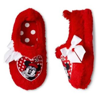 Disney Minnie Mouse Toddler Girl Scuff Slippers Size Large (9 10) Red Shoes