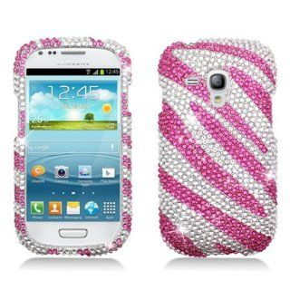 Aimo SAMI8190PCLDI686 Dazzling Diamond Bling Case for Samsung Galaxy S3 Mini   Retail Packaging   Zebra Hot Pink/White Cell Phones & Accessories