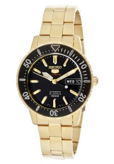 Seiko SRP196  Watches,Womens Seiko 5 Sports Automatic Black Dial Gold Tone Ion Plated Stainless Steel, Casual Seiko Automatic Watches