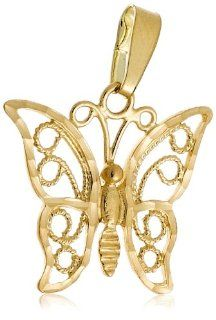 14k Yellow Gold Filigree Butterfly Charm Jewelry