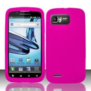 Hot Pink Silicon Case for MOTOROLA Motorola Atrix 2 MB865 Cell Phones & Accessories