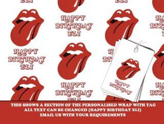 Personalized Wrapping Paper Rolling Stones   590mm X 840mm   Free Matching Gift Tags   Next DAY Despatch (Rs us) Health & Personal Care