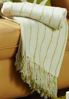 Jovi Home Nature Chenille Hand Woven Throw 50 Inch by 60 Inch, Natural (Ivory with Green & Gold accents)   Throw Blankets