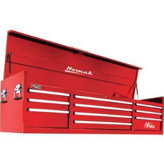 H2PRO RD02010720 72 Inch Series 10 Drawer Top Chest, Red   Tool Chests