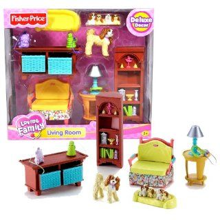 Fisher Price Year 2006 Loving Family Dollhouse Deluxe Decor Furniture Accessory Set   LIVING ROOM (K5318) with Sofa Chair, Toy Storage with 2 Drawers, Coffee Table with Lamp, Book Shelf, Cocker Spaniel Dog with Puppies and Dog Bed (Dollhouse Sold Separatel