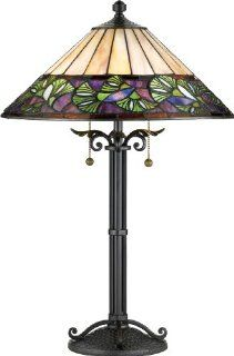 Quoizel TF709TBK Vintage Ginkgo 25 Inch Tiffany 2 Light Table Lamp with 240 Pieces of Tiffany Glass, Black Copper