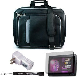 Black Travel Smart Carrying Case with Optional Adjustable Shoulder Strap For Samsung Galaxy Tab 10.1 inch Android Honeycomb Tablet (Compatible With All Version) + Includes a eBigValue (TM) Determination Hand Strap + Includes a Anti Glare Screen Protector +
