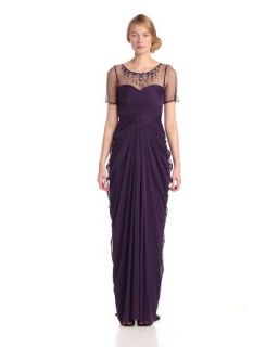 Adrianna Papell Women's Short Sleeve Necklace Draped Gown, Aubergine, 6