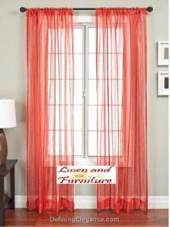 Shop 4pc Red Solid Sheer Window Panel Brand New Curtain at the  Home D�cor Store
