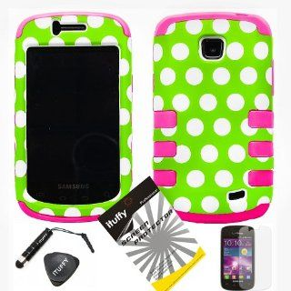 4 items Combo ITUFFY LCD Screen Protector Film + Mini Stylus Pen + Case Opener + Green White Polka Dots Design Rubberized Hard Plastic + PINK Soft Rubber TPU Skin Dual Layer Tough Hybrid Case for Straight Talk Samsung Galaxy Proclaim 720C SCH S720C / Veri