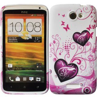 Bfun Purple Heart style GEL Cover Case Skin for HTC ONE X S720E Cell Phones & Accessories
