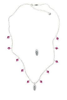 Healing Oval with Cutout Heart on a Fuchsia Crystal Waterfall Necklace [Jewelry] Pendant Necklaces Jewelry