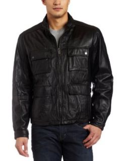Michael Kors Mens Leather Jacket, Black, Medium at  Men�s Clothing store