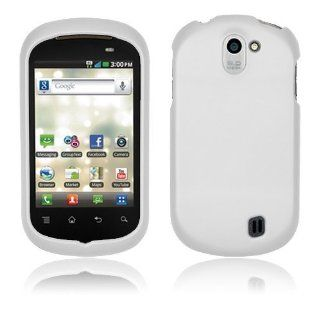 LG DoublePlay C729   White Hard Plastic Case Cover [AccessoryOne Brand] Cell Phones & Accessories