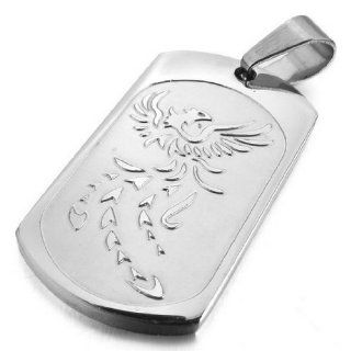 JBlue Jewelry Men's Stainless Steel Pendant Necklace Silver Phoenix Bird Firebird Dog Tag Biker with 23 inch Chain (with Gift Bag) Mens Silver Charms Jewelry