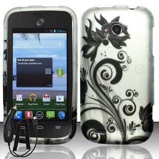 ZTE SAVVY Z750C WHITE BLACK VINE FLOWER COVER SNAP ON HARD CASE + FREE CAR CHARGER from [ACCESSORY ARENA] Cell Phones & Accessories