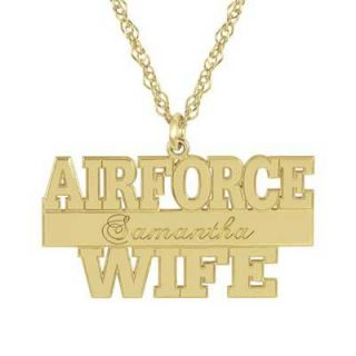 Air Force Wife Pendant in Sterling Silver with 14K Gold Plate (10