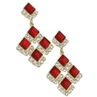 Heirloom Finds Classic Ruby Red Square Cut Crystal Dangle Earrings Long Red Earrings Jewelry
