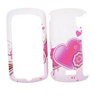 LG GENESIS VX760 Pink Heart on White HARD PROTECTOR COVER CASE / SNAP ON PERFECT FIT CASE Cell Phones & Accessories