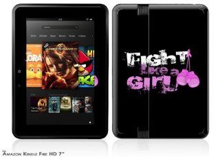 Fight Like A Girl Breast Cancer Ribbon and Boxing Gloves Decal Style Skin fits 2012  Kindle Fire HD 7 inch Computers & Accessories