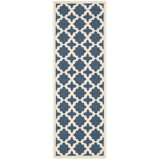 Easy to maintain Safavieh Indoor/ Outdoor Courtyard Navy/ Beige Rug (23 X 12)