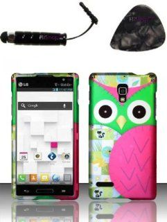 LG Optimus L9 P769 P760 (T Mobile) Rubberized Design   Owl Design Design Snap on Hard Shell Cover Protector Faceplate AND HiShop(TM) Stylus, Guitar Pick/Pry Tool Cell Phones & Accessories